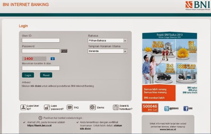 Website BNI Internet Banking